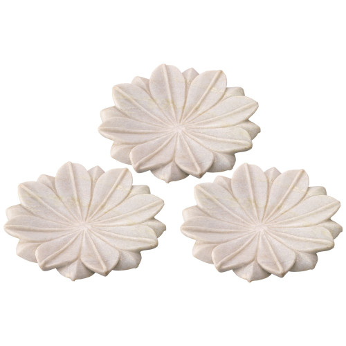 "Set of 3 Medium White Lotus Marble Plate Table Top Decorations 9"" - IMAGE 1"