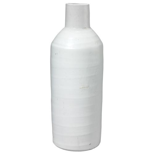"17.25"" White Decorative Dimple Carafe Vase - IMAGE 1"