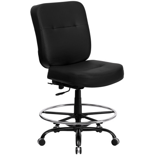 51'' Black Contemporary Ergonomic Upholstery Drafting Chair - IMAGE 1