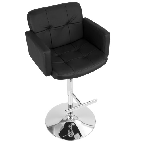 """47"""" Black Leather and Silver Tufted Adjustable Stout Bar Stool - IMAGE 1"""