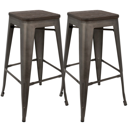 "Set of 2 Oregon Industrial Antique and Espresso Stackable Barstools 30"" - IMAGE 1"
