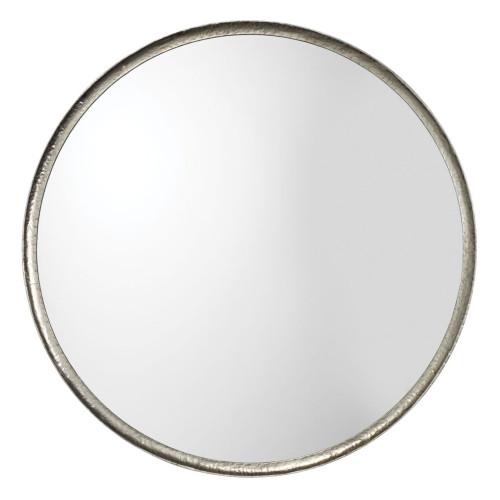 "36"" Silver Leaf Metal Refined Round Mirror - IMAGE 1"