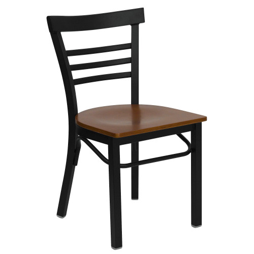 """31.75"""" Black and Cherry Red Hercules Series Three-Slat Ladder Restaurant Dining Chair - IMAGE 1"""