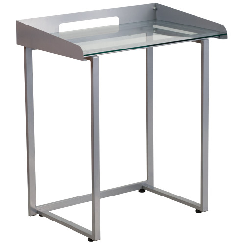 """32.25"""" Clear and Silver Contemporary Desk with Raised Cable Management - IMAGE 1"""