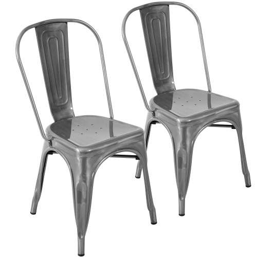 """Set of 2 Brushed Silver Finish Metal Stackable Dining Chair 32.25"""" - IMAGE 1"""