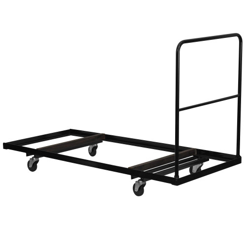 """74"""" Black and Silver Rectangular Folding Table Dolly - IMAGE 1"""
