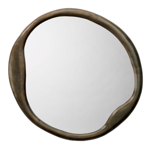 "36"" Antique Brass Metal Organic Round Shape Wall Mirror - IMAGE 1"
