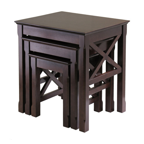 """Set of 3 Cappuccino Elegant Xola Square Shaped Top Wooden Nesting Tables, 22"""" - IMAGE 1"""