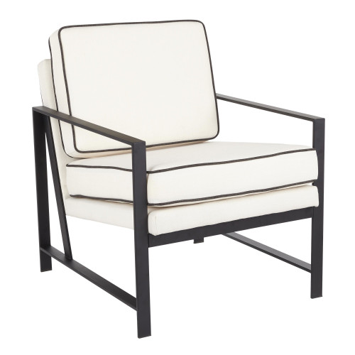 """32.5"""" Franklin Contemporary Black Metal with Cream Fabric and Charcoal Piping Arm Chair - IMAGE 1"""