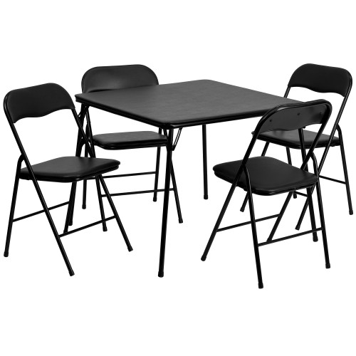"""5-Piece Black Contemporary Square Outdoor Patio Folding Card Table and Chair Set 33.5"""" - IMAGE 1"""