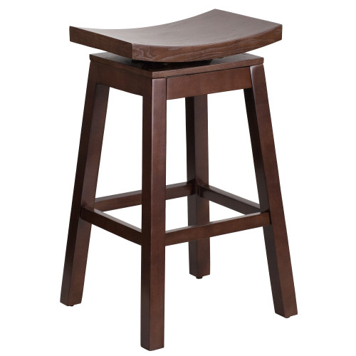 """30"""" Cappuccino Brown Rustic Barstool with Curved Saddle and Seat - IMAGE 1"""