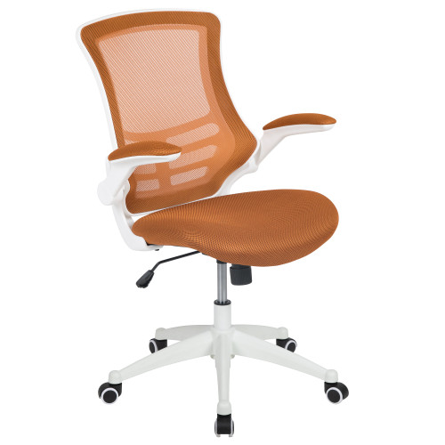 """41.25"""" White and Tan Orange Mid-Back Swivel Ergonomic Task Office Chair with Flip-Up Arms - IMAGE 1"""