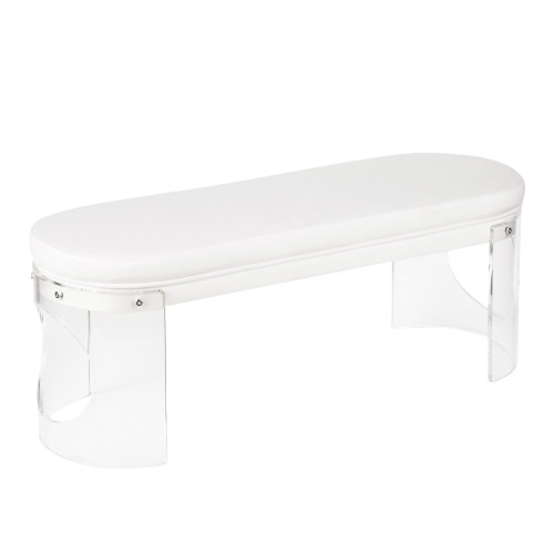 "49"" Clear Acrylic and White Velvet Upholstered Contemporary Bench - IMAGE 1"