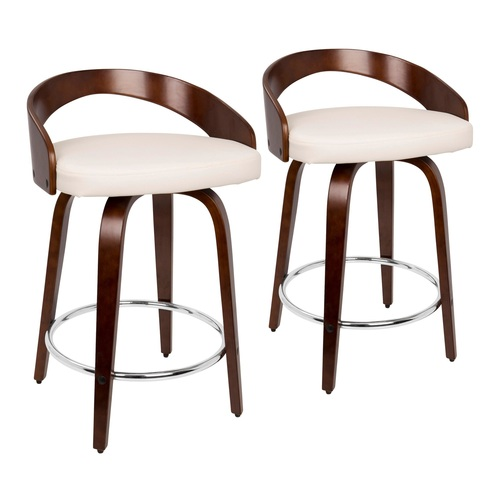 "Set of 2 Cherry Brown and White Faux Leather Grotto Swivel Counter Stool 30.25"" - IMAGE 1"