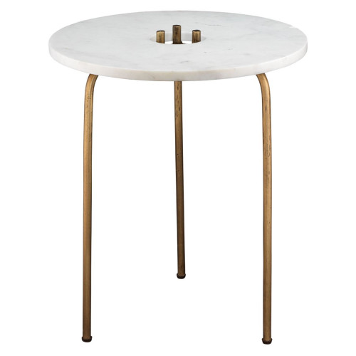 """22.5"""" White and Antique Brass Gold Round Durham Cocktail Table - IMAGE 1"""
