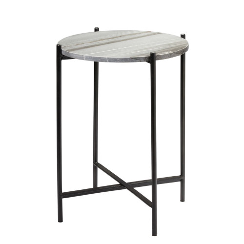 """22"""" Gray Marble and Black Iron Frame Round Domain Side Table - IMAGE 1"""