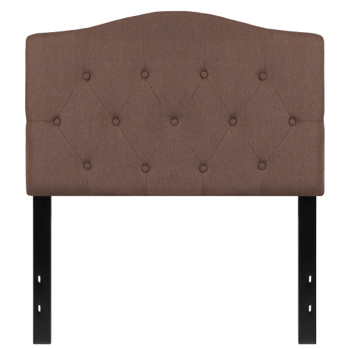 """56.25"""" Camel Brown and Black Contemporary Button Tufted Headboard - Twin Size - IMAGE 1"""
