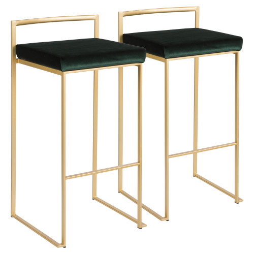 """Set of 2 Contemporary Barstools in Brushed Gold and Green Velvet 34"""" - IMAGE 1"""