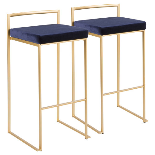 "Set of 2 Contemporary Barstools in Brushed Gold and Blue Velvet 34"" - IMAGE 1"