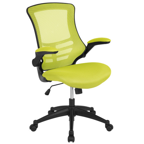 """41.25"""" Green and Black Mid-Back Swivel Ergonomic Task Office Chair with Flip-Up Arms - IMAGE 1"""