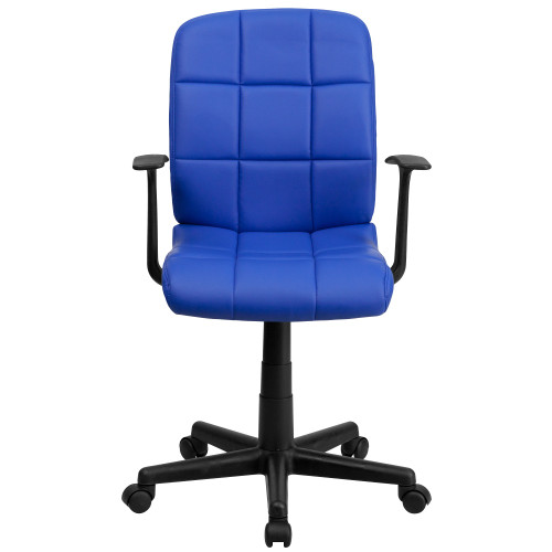 """38.75"""" Blue and Black Contemporary Mid Back Swivel Task Office Chair with Arms - IMAGE 1"""
