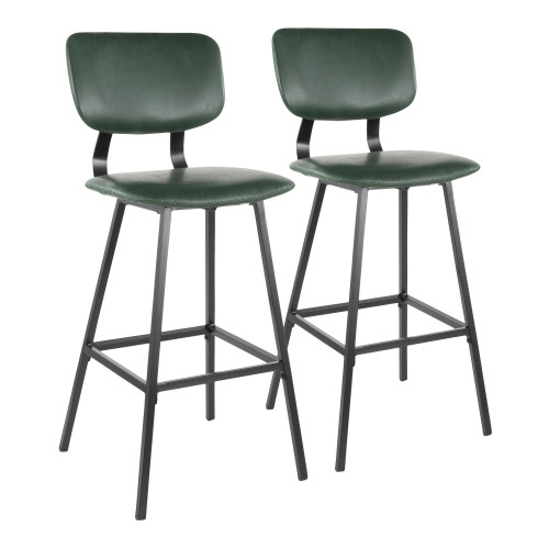 """Set of 2 Contemporary Black Metal and Faux Green Leather Barstools with Green Zig Zag Stitching 42"""" - IMAGE 1"""