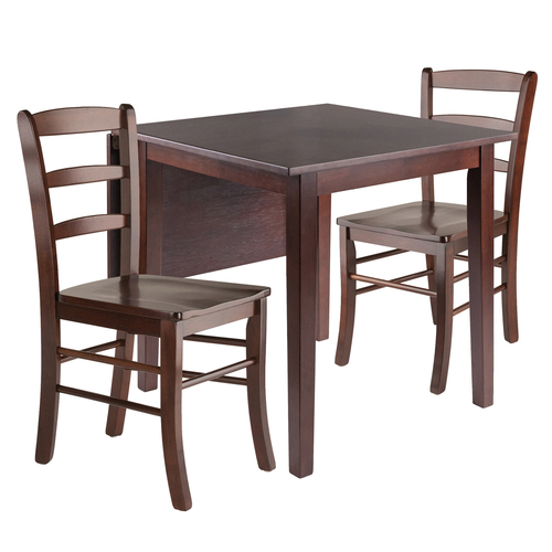 "Set of 3 Walnut Wood Drop Leaf Dining Table with Ladder Back Chairs 48.25"" - IMAGE 1"