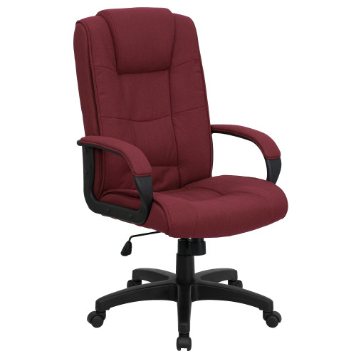 "48"" Burgundy Red and Black Contemporary Armed Executive Swivel Office Chair - IMAGE 1"