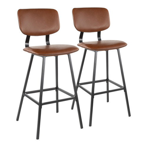 """Set of 2 Contemporary Black Metal and Faux Cognac Leather Barstools with Brown Zig Zag Stitching 42"""" - IMAGE 1"""