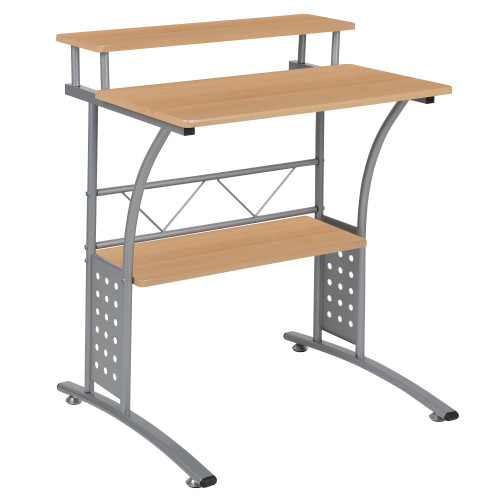 "33"" Maple Brown Rectangular Computer Desk with Top and Lower Storage Shelves - IMAGE 1"