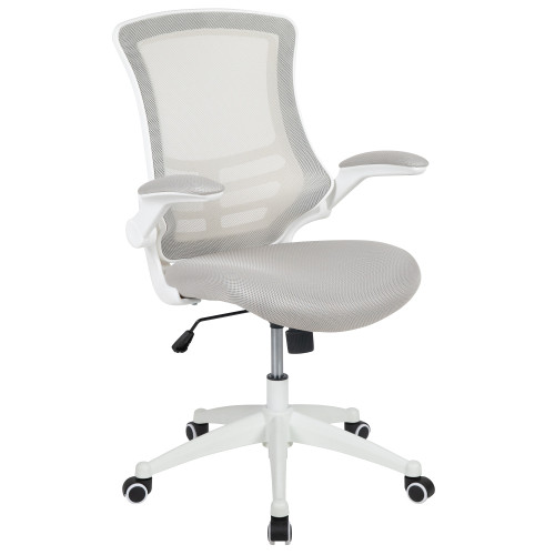 """41.25"""" White and Black Mid-Back Swivel Ergonomic Task Office Chair with Flip-Up Arms - IMAGE 1"""