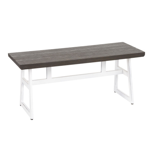"42.25"" Vintage White Metal and Espresso Wood-Pressed Grain Bamboo Industrial Bench - IMAGE 1"