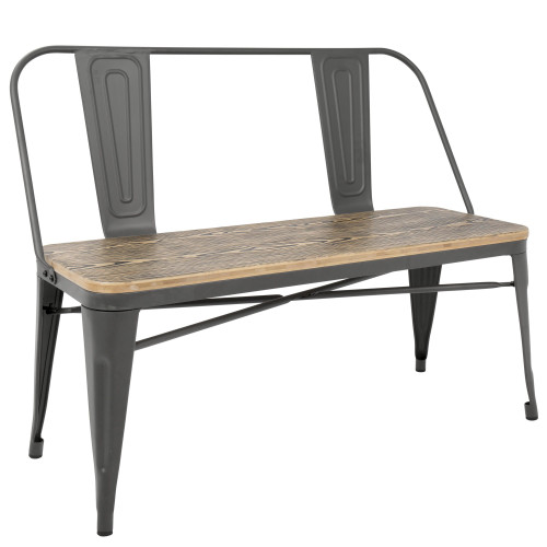 "42"" Brown Bamboo Seat with Gray Stand Bench - IMAGE 1"