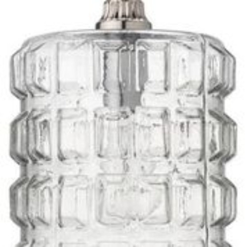 "13"" Clear Glass with Silver Hardware Block Grid Pattern Pendant Ceiling Light Fixture - IMAGE 1"