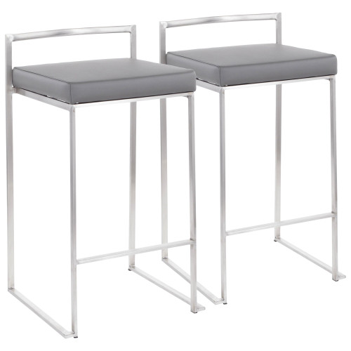 "Set of 2 Gray and Silver Stacker Counter Stool - 31"" - IMAGE 1"