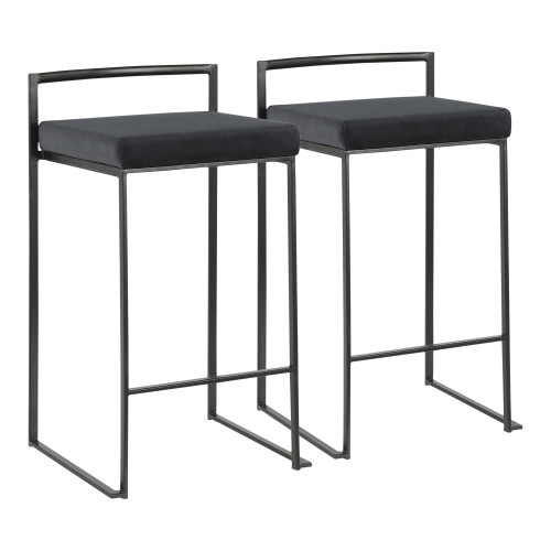 """Set of 2 Contemporary Barstools in Black Metal and Black Velvet 31"""" - IMAGE 1"""