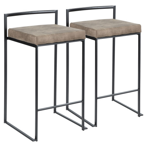 """Set of 2 Contemporary Barstools in Black and Cowboy Brown Leather 31"""" - IMAGE 1"""