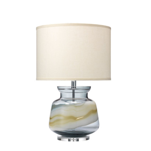 """25.50"""" White and Blue Swirl Glass Ursula Table Lamp with Classic Drum Shade in Sea Salt Linen - IMAGE 1"""