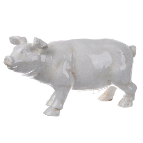 "16"" White and Brown Glossy Finish Patina Pig Statuette - IMAGE 1"