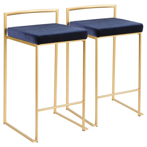 """Set of 2 Contemporary Barstools in Brushed Gold and Blue Velvet 31"""" - IMAGE 1"""