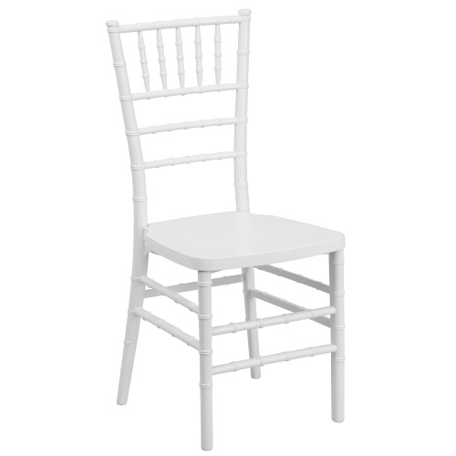 "36.5"" White Rectangular Outdoor Furniture Patio Stacking Chiavari Chair - IMAGE 1"