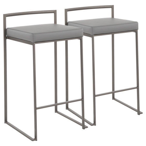 """Set of 2 Industrial Counter Stools in Grey Faux Leather and Antique Finish 31"""" - IMAGE 1"""