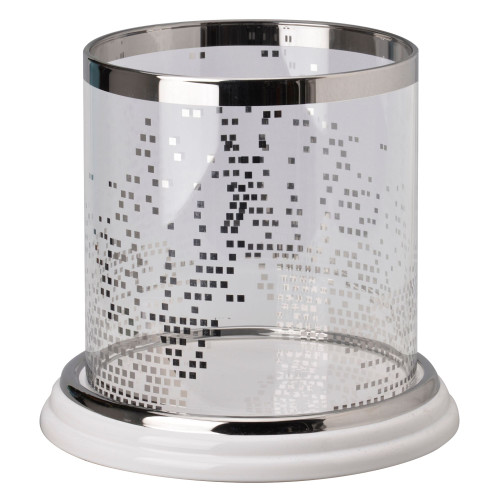 """9.75"""" White and Silver Glossy Shine Large Round Candle Holder - IMAGE 1"""