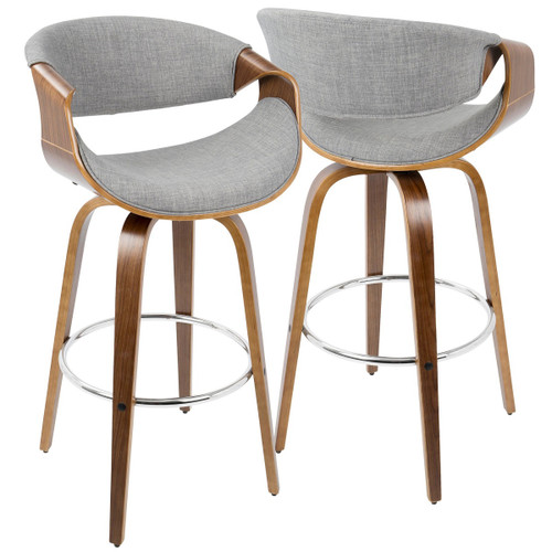 """Set of 2 Walnut and Gray Faux Leather Swivel Indoor Comfortable Bar Stools 40.25"""" - IMAGE 1"""