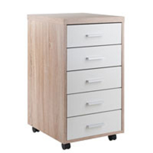 """29.25"""" Beige and White Storage Cabinet with Five Drawers - IMAGE 1"""