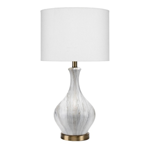 """29"""" Gray Single Gourd Ceramic Table Lamp with White Linen Shade - IMAGE 1"""