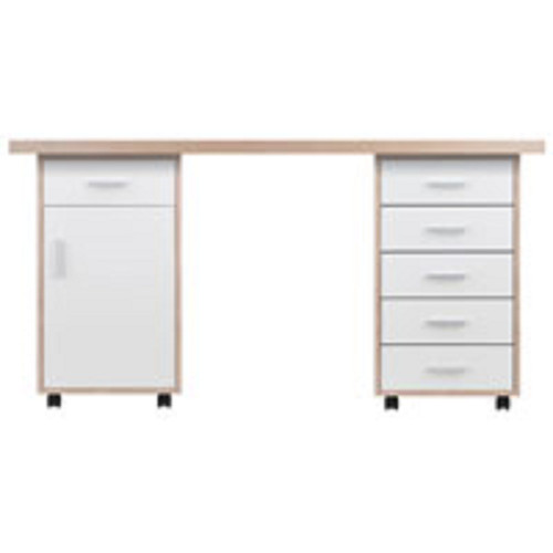 Set of 3 Beige and White Desk with Cabinet and Drawer - IMAGE 1