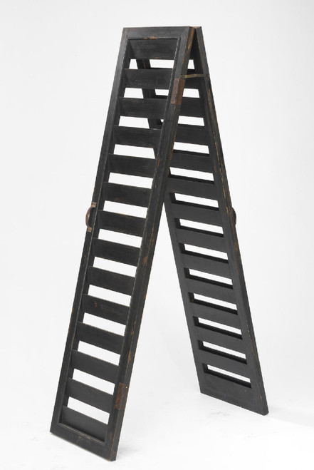 "64"" Black Two Sided Shutter Panel Ladder Display Stand - IMAGE 1"