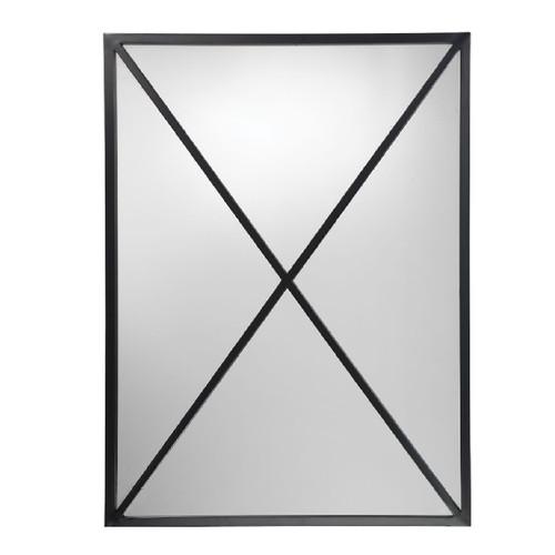 """32.5"""" Black Metal Elegant Xander Rectangular Wall Mirror - IMAGE 1"""