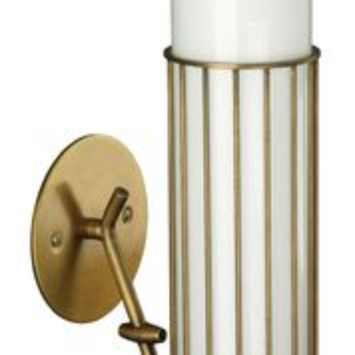 "17"" White Torino Wall Sconce in Antique Brass - IMAGE 1"